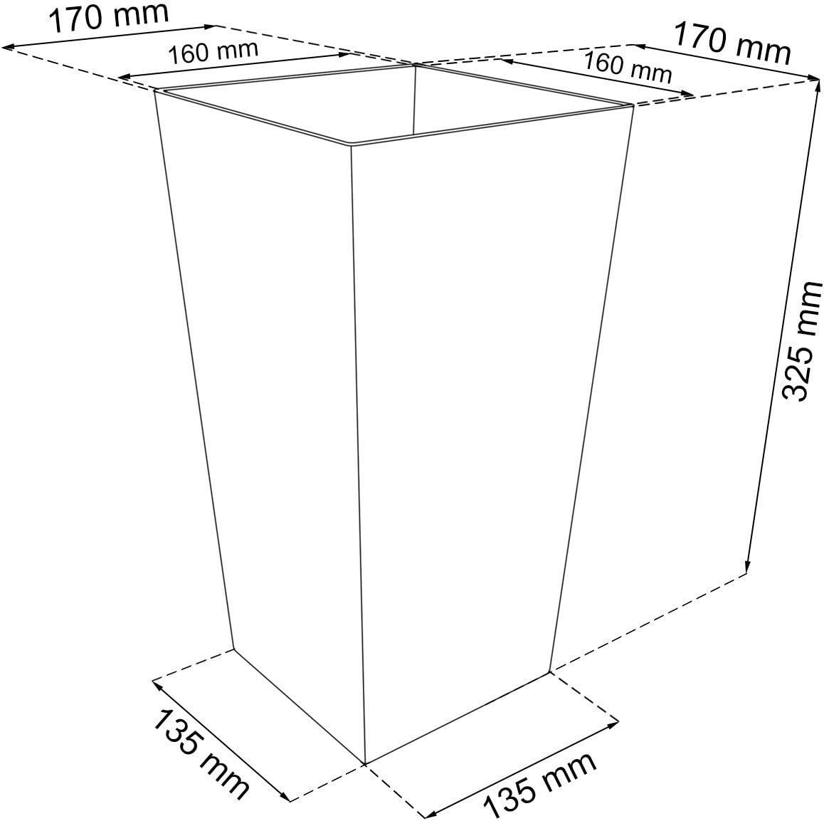 """mokkafarben Prosper Plast DRTS170-7529U quadratischer Blumentopf /""""Rato/"""" . 17/x 17/x 32,4 cm 12-St/ück"""