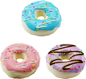 Beauy Girl 3pcs Realistic Artificial Toy Donuts, Artificial Dessert Food Toys, Realistic Artificial Cake Fake Donuts Realistic Doughnuts Pretend Play Toy, Prop Food Display Photo Prop