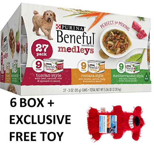 Purina Beneful Medleys Variety Pack Dog Food 27-3 oz. Cans (6 Box + Free Toy) by Purina Waggin' Train