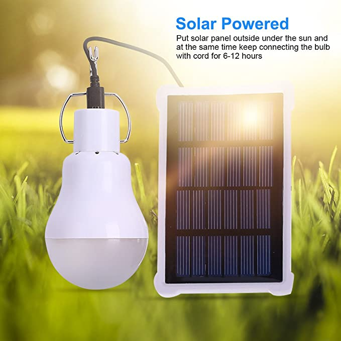 60W Solar Powered Shed Light Bulb LED Portable Hang-Up Lamp Hooking Chicken Coop