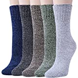 Womens 5 Pairs Winter Warm Vintage Style Thick Knit Wool Cozy Crew Socks,Multicolor 04,One Size