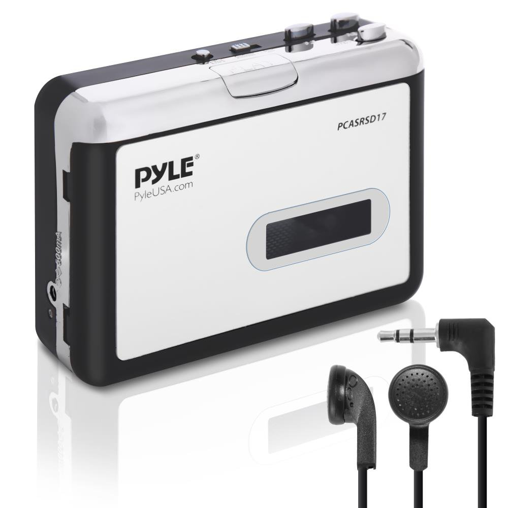 2-in-1 Cassette-to-MP3 Converter Player Recorder - Portable Battery Powered Tape Audio Digitizer, USB Walkman Cassette Player with Manual/Auto Record, 3.5mm Audio Jack, Headphones, Power Cable - Pyle