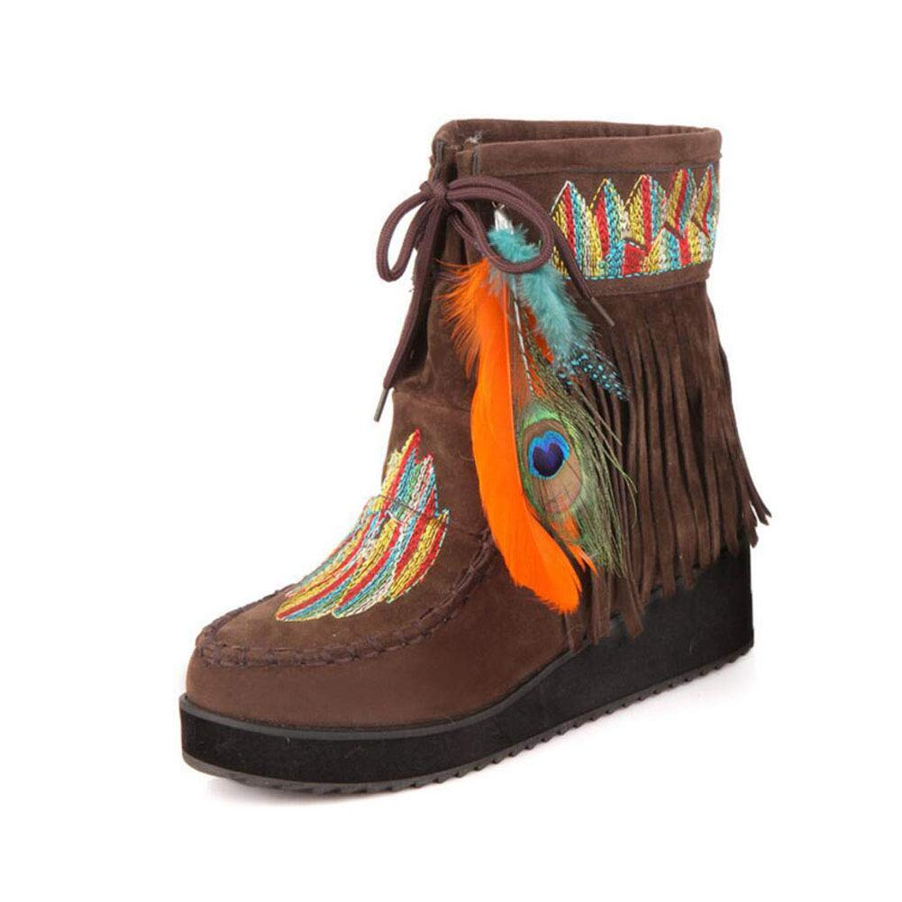 Brown Women's Booties, Fall Winter Indian Style Retro Fringe Boots Flock Chunky Feather Women Ankle Short Boots Tassels Big Size shoes Size (color   Black, Size   43)
