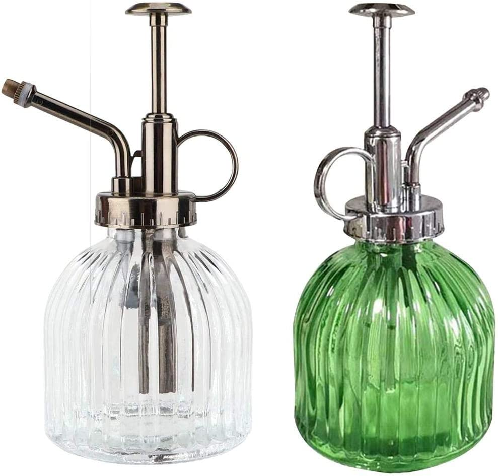 TUANTUAN 2 Pack Glass Plant Spray Bottle Vintage Plant Watering Can Retro Glass Plant Mister with Bronze Top Pump for House Garden Small Plants Home Decor