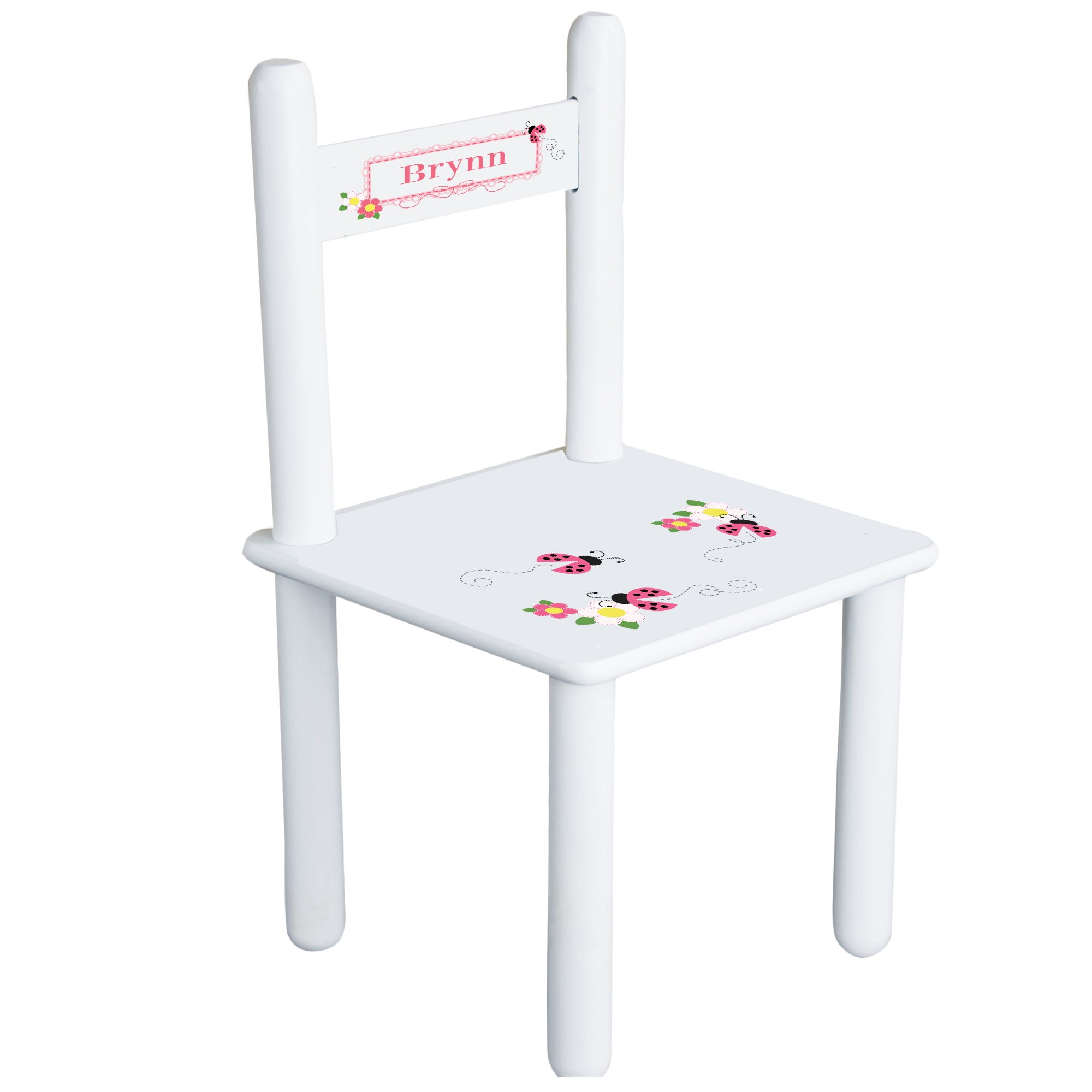 Personalized Pink Ladybugs Child's Chair - white