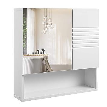 VASAGLE Spiegelschrank fürs Bad, Wandschrank, Badschrank mit ...