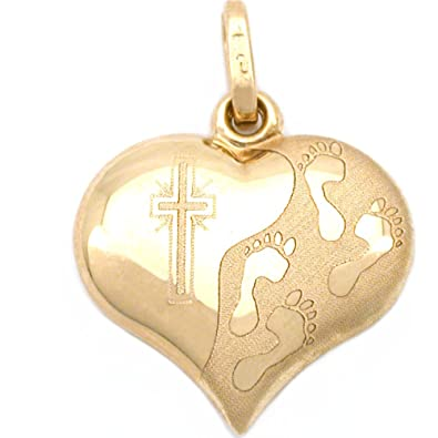 Amazoncom 14k Gold Footprints Cross Heart Charm Religious Jewelry