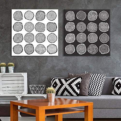 (wall26 2 Panel Square Canvas Wall Art - Trees Growth Ring Patterns - Giclee Print Gallery Wrap Modern Home Decor Ready to Hang - 16