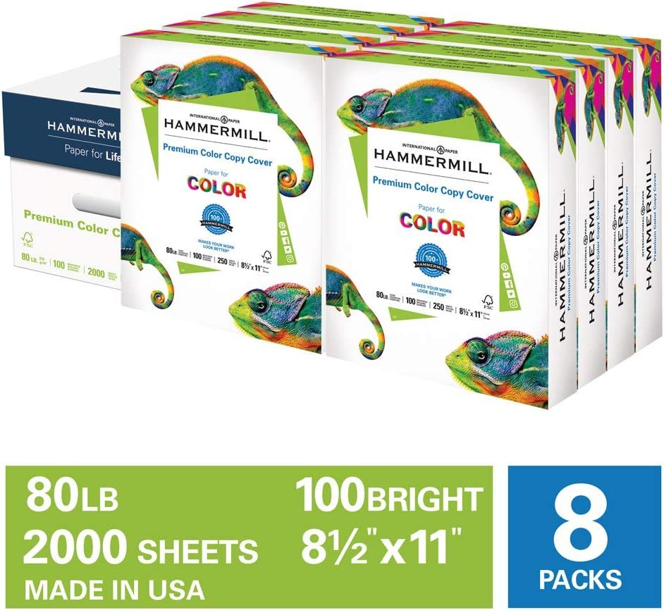 Hammermill Premium Color Copy Cover 80lb Cardstock, 8.5 x 11, 8 Packs, 2000 Sheets, Made in USA, Sourced From American Family Tree Farms, 100 Bright, Acid Free, Heavy-weight Printer Paper,120023C