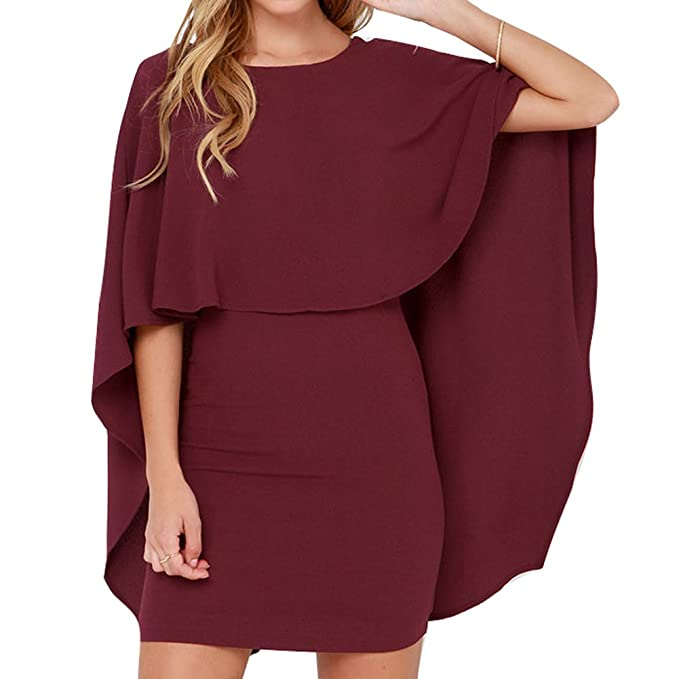 3f44470c7bd junkai Vestido Señoras Verano Mini Vestidos Manga Corta Vestido De Camisa  Señorases Vestidos Cortos Espalda Hueca Vestidos con Capa Vestidos De  Oficina ...