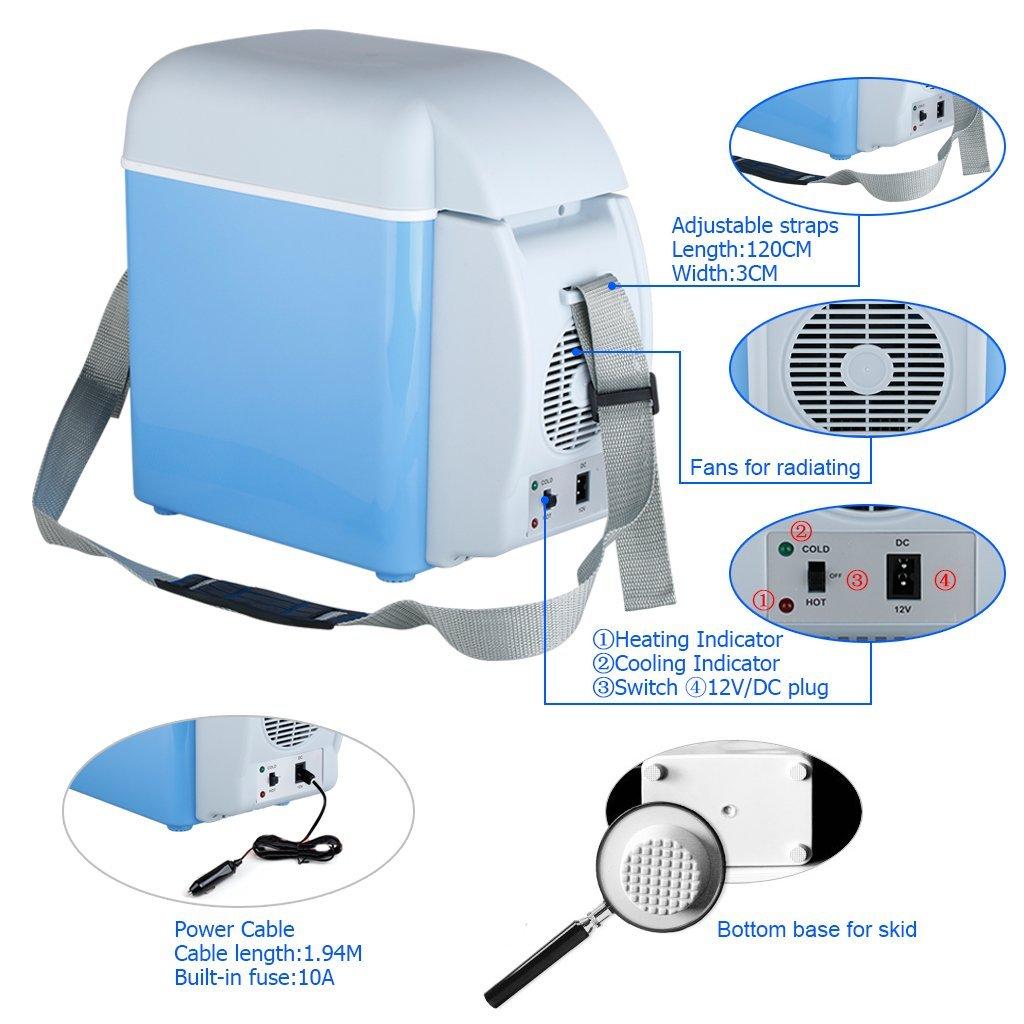 Amazon.es: 2 en 1 Mini Nevera Electrica Portatil Calentador 7.5L 12V para Coche Camion Vehiculo Camping, Azul