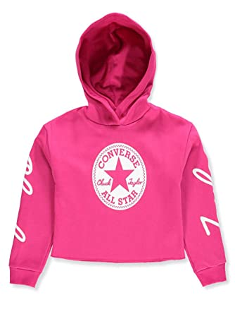 7fcb17a91ca6 Amazon.com  Converse Kids Girl s Chuck Taylor Signature Pullover Hoodie  (Big Kids) Pink Pop Medium  Clothing