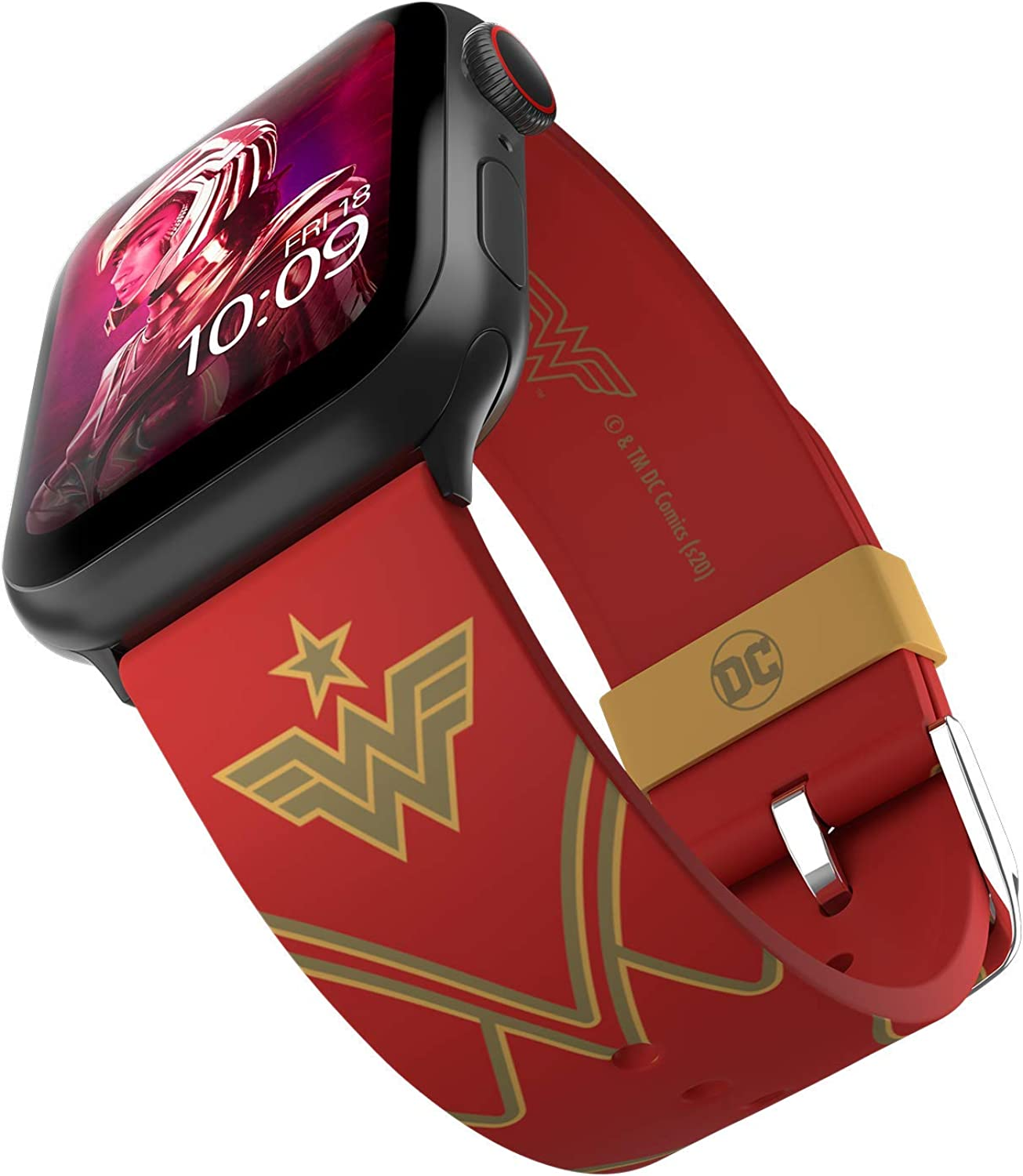 DC Comics - Wonder Woman 1984: Crimson Armor Smartwatch Band – Officially Licensed, Compatible with Apple Watch (not included) – Fits 38mm, 40mm, 42mm and 44mm