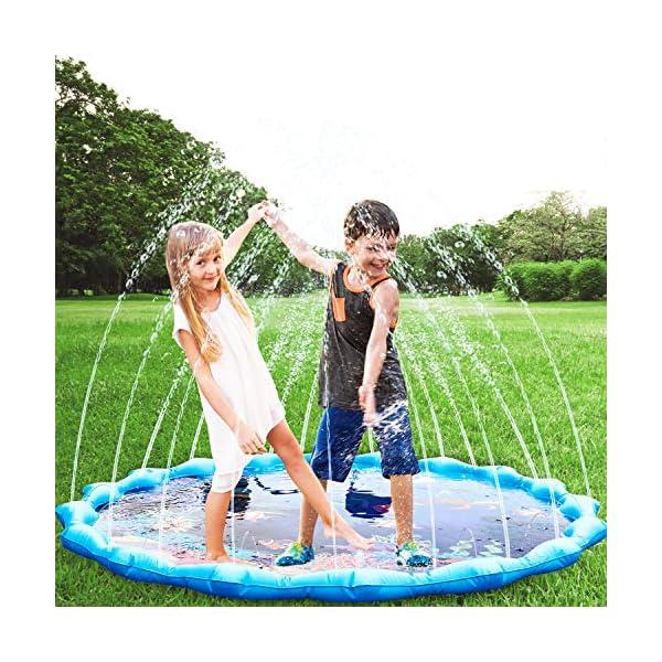 Gifort Tappetino Gioco d'Acqua per Bambini 68in/172cm, Splash Play Mat Gioco di Spruzzi d'Acqua Tappetino Gonfiabile… 2 spesavip