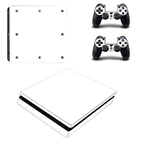 Stillshine PS4 Slim Vinyl Skin Decal selbstklebend Aufkleber für Playstation 4 Slim Konsole & 2 Dualshock Controller Set weiß