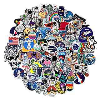 FNGEEN 112pcs NASA Space Explorer Stickers Pack for Water Bottle Laptop,Waterproof Vinyl Stickers Bomb, Space Gifts for Adults Teens Boys Psychedelic Stickers for Skateboard Decals