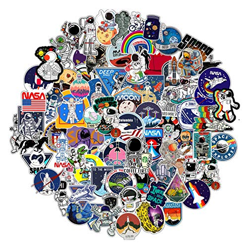 100pcs NASA Space Explorer Stickers Pack for Laptop ,Vinyl Galaxy Sticker Bomb for Water Bottle Hydro Flask yeti Skateboard Luggage Astronaut Spaceman Spacecraft Universe Planet Graffiti Decals Vsco boy