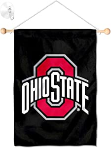 College Flags & Banners Co. Ohio State Buckeyes Black Window Wall Banner Hanging Flag with Suction Cup