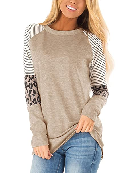 MODNTOGA Women's Cotton Knitted Leopard Color Block Long Sleeve Lightweight Stripe Round Neck Sweatshirt Tunic Tops