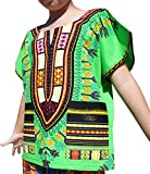 Raan Pah Muang RaanPahMuang Branded Childrens African Dashiki Short Sleeve Shirt In Colours, 3-6 Years, Lime Green
