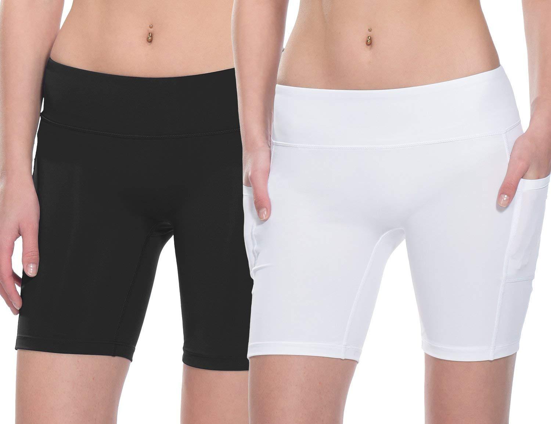 Baleaf Women's 7'' Workout Running Shorts Yoga Comprssion Shorts Side Pockets 2 Packs Black/White Size XXL