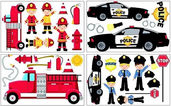 34 piezas Bomberos Policía juego de pegatinas de pared para la habitación de los niños/dormitorio del bebé 4 x 16 x 26 cm: Amazon.es: Hogar