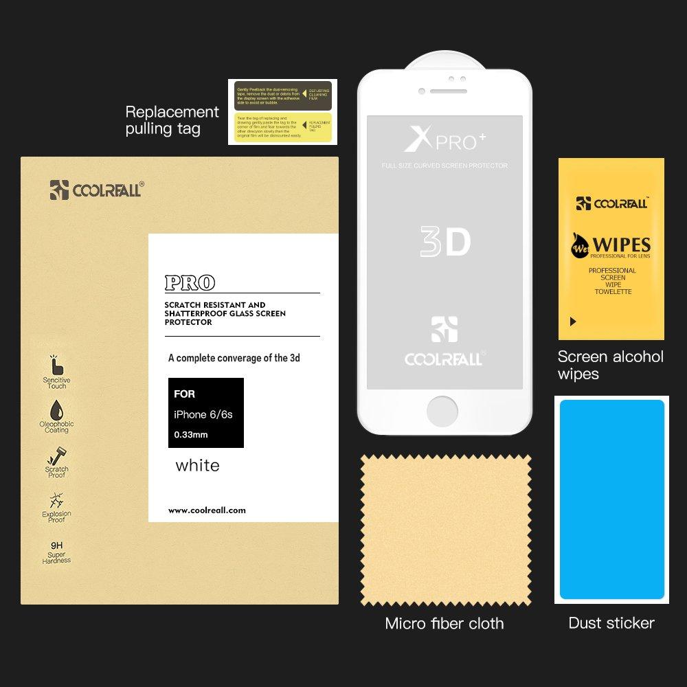 4,7 Pollici 9H Durezza, 3D Touch Compatible 3D Full Coverage iPhone 6// 6s Pellicole Protettive Coolreall - Vetro Temperato Screen Protector per Apple iPhone 6// 6s - Nero