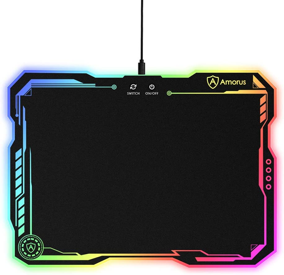 14.4 x 10.4 inch Large Hard Surface LED Mouse Pad Gamer Gifts for Logitech Razer Corsair Gaming Mouse 11 Lighting Modes /& 3 Brightness amorus RGB Gaming Mouse Pad