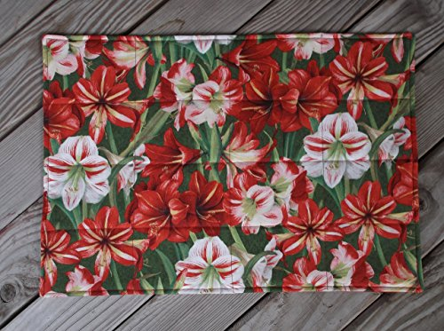 Amaryllis Flower Christmas Quilted Fabric Placemats set of 8