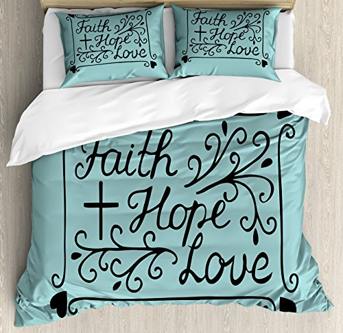 Hope King Size Duvet Cover Set by Ambesonne, Hand Lettering Spiritual Faith Hope Love Quote with Floral Arrangement Hearts, Decorative 3 Piece Bedding Set with 2 Pillow Shams, Pale Blue and Black by Ambesonne