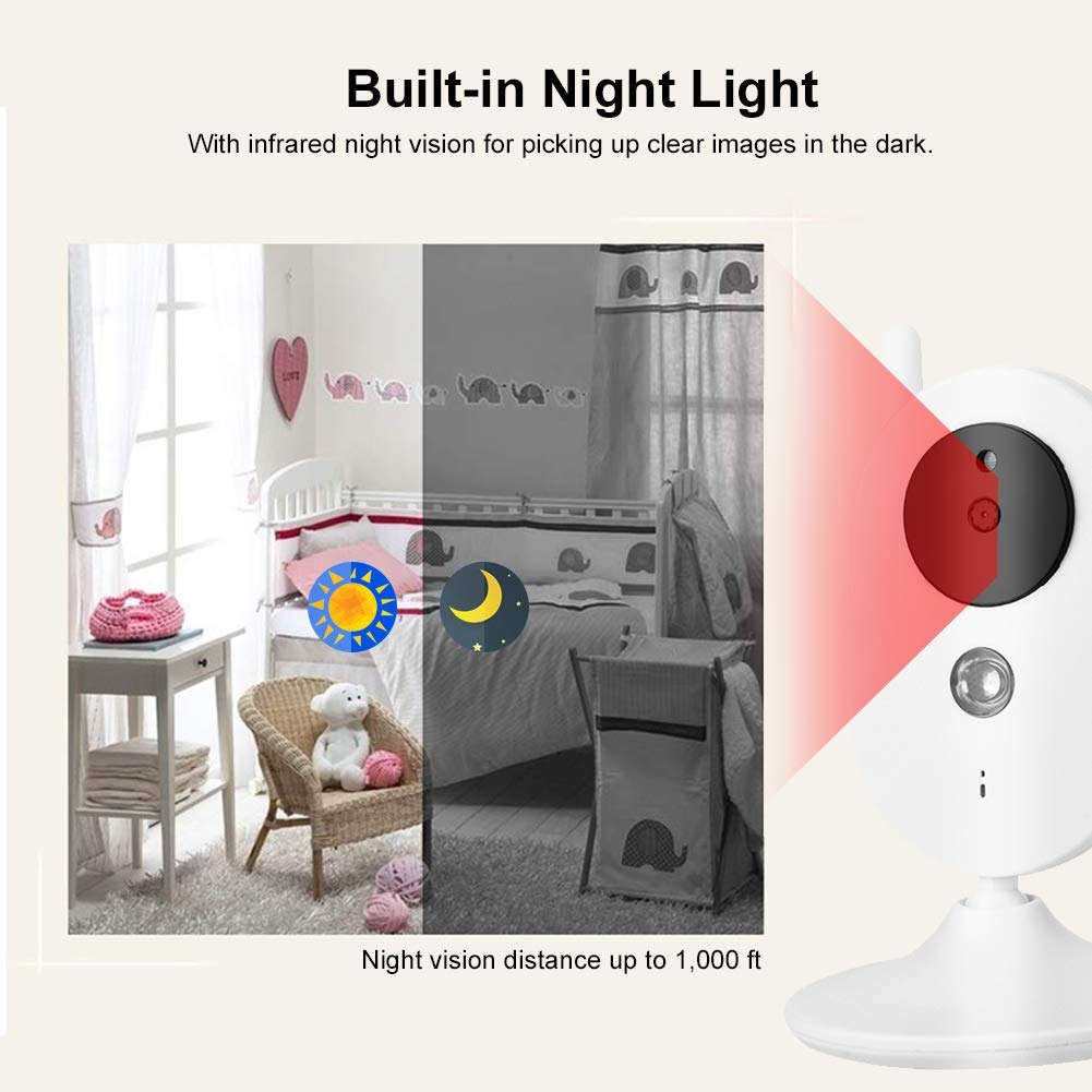 US Plug Baby Camera Monitor 3.5 Digital Video Baby Monitor Security Camera Night Vision Temperature Sensor Intercom Two-way conversation Multi-language security without interference