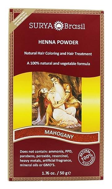 34e920cda35a0 Amazon.com : Surya Brasil - Henna Powder Natural Hair Coloring Mahogany -  1.76 fl. oz. : Beauty