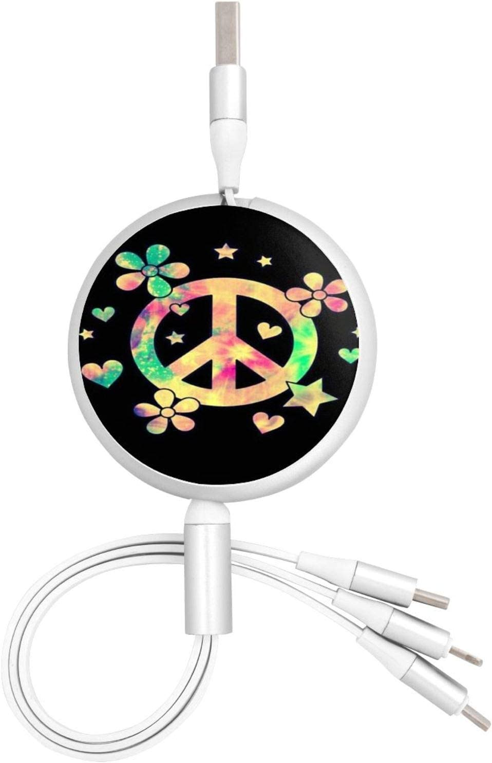 Multi Charging Cable Portable 3 in 1 Peace Love USB Cable USB Power Cords for Cell Phone Tablets and More Devices Charging