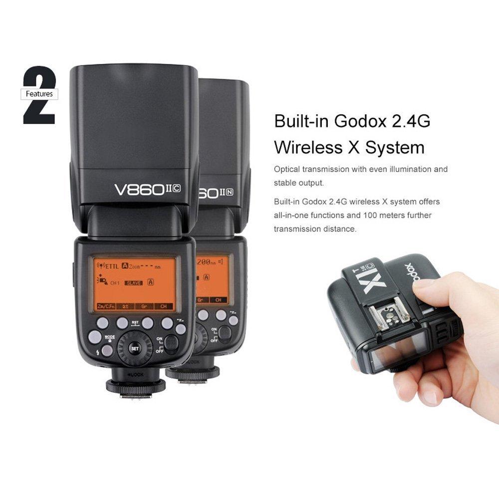 V860II-C Godox V860II-C Pioneering 2.4G Wireless E-TTL II Li-on Camera Flash Speedlite Compatible for Canon 6D 50D 60D 1DX 580EX II 5D Mark II III