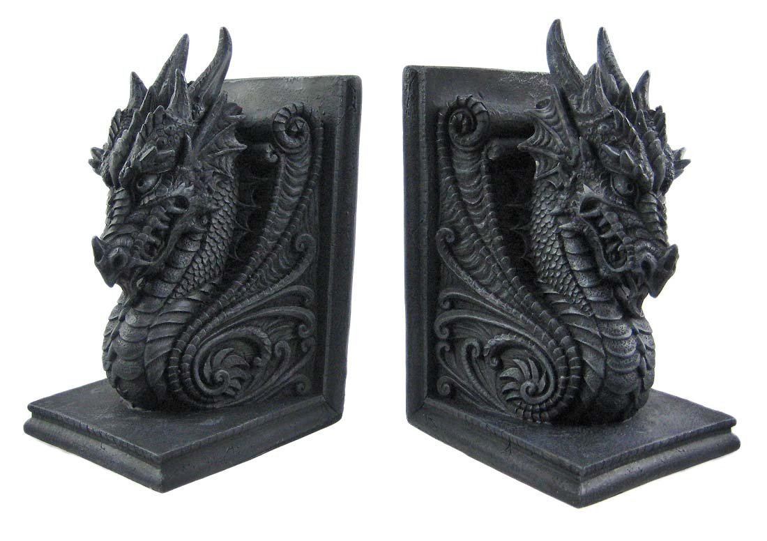 Private Label Gothic Dragon Bookends Midieval Book Ends Evil Medieval 8266