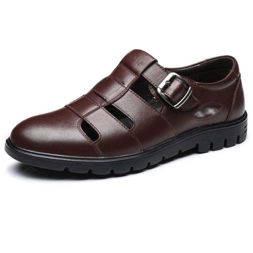 Zapatos De Cuero Genuino De Los Hombres del Verano Zapatos Sanos del Negocio del Hueco Respirable Hueco del Negocio,Brown-38=240mm 38=240mm Brown