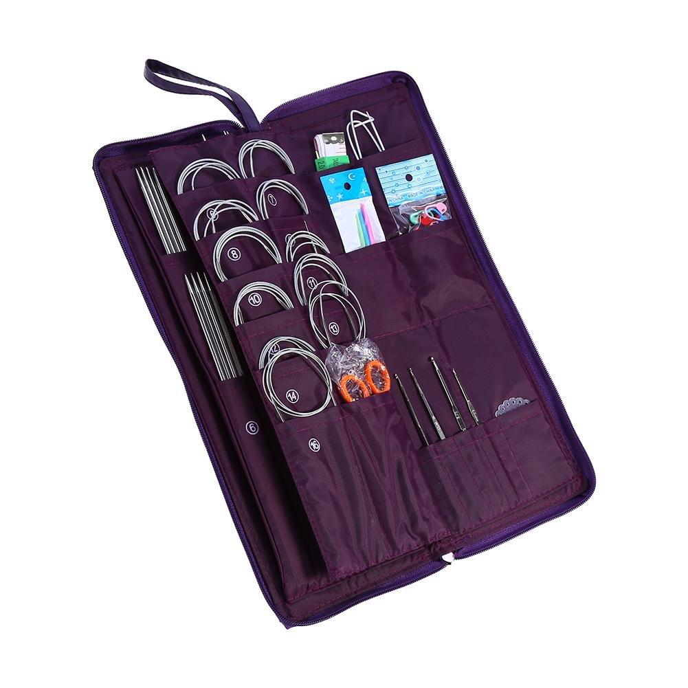 Sewing Needles Kit,Zipper Portable Sew Kits Straight Circular Knitting Needles Crochet Hook Weave Tool Set 104 pcs