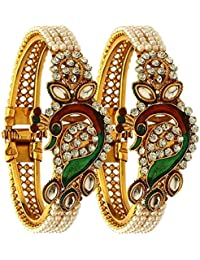 Fashion Jewelry Indian Bollywood 14 K Gold Plated Faux Pearl Kundan Rhinestone Peacock Bracelet Bangle (2 Pc)