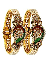 Efulgenz Fashion Jewelry Indian Bollywood 14 K Gold Plated Faux Pearl Kundan Rhinestone Peacock Bracelet Bangle (2 Pc)