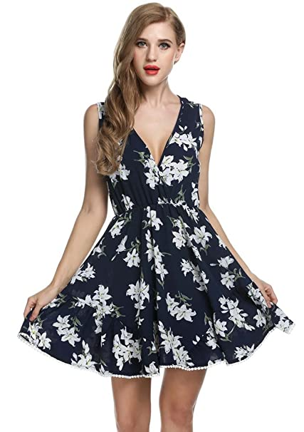 JQstar Women s Deep V-Neck Sleeveless Floral Print Loose Casual Short Swing  Dress (S fb8b0d4458