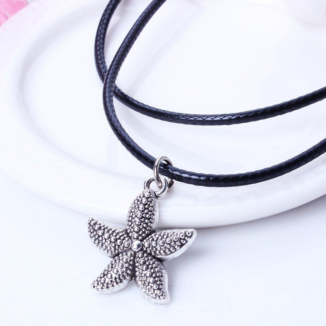 Qiyun Antique Silver Plating Starfish Girls Cute Necklace Placage DArgent Filles De toiles Mer Mignonne Collier