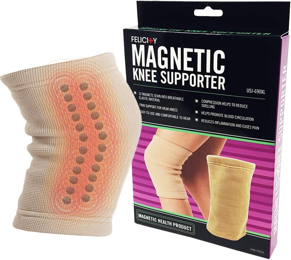 U.S. Jaclean Felicity USJ-690 Magnetic Knee Supporter, Support for Weak Knees, Comfortable To Wear, Large SIze, Beige Color, Pack of 1