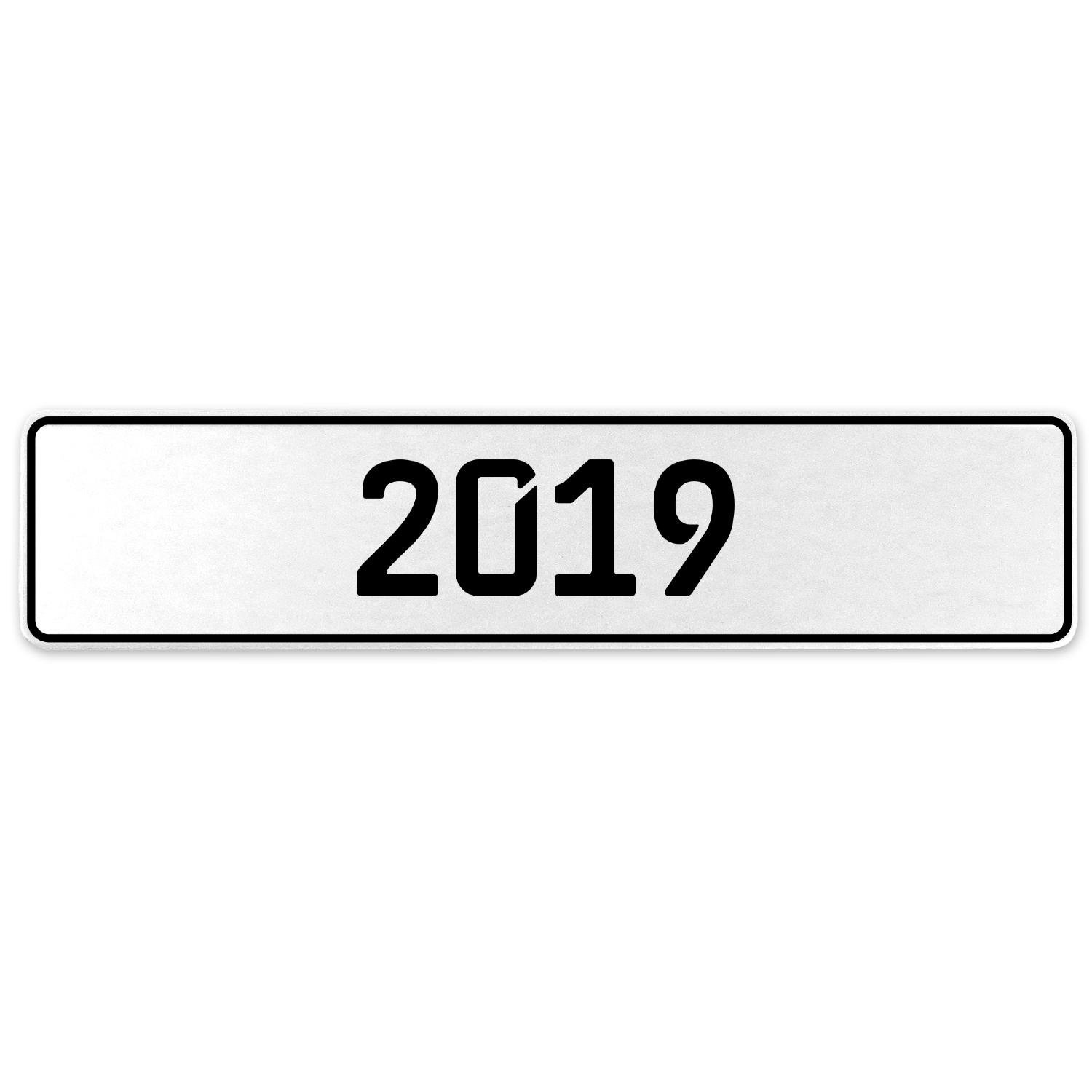 Vintage Parts 553262 2019 Year White Stamped Aluminum European License Plate