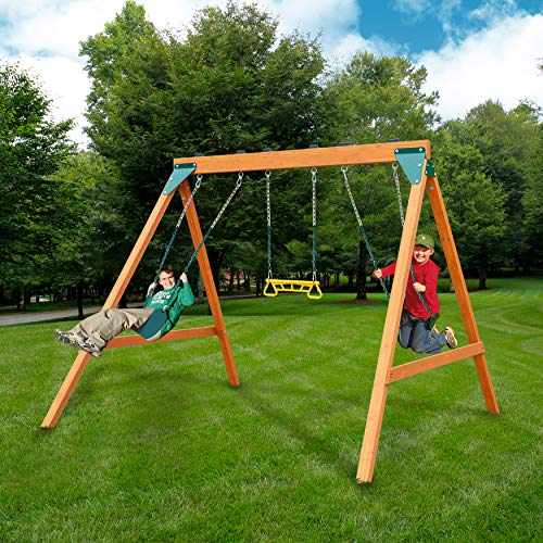Swing-N-Slide PB 8360 Ranger Wooden Swing Set with Swings (For Kids Swingsets)