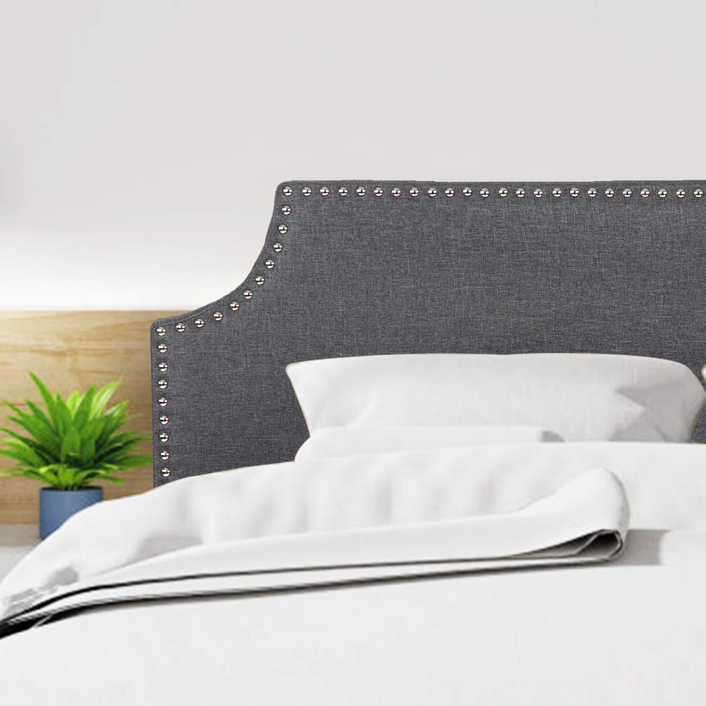 Queen Headboard Tufted Head Board Fabric Upholstered Linen Heavy Duty Full/Queen Size Height Adjustable with Bedroom Guest Room in Gray