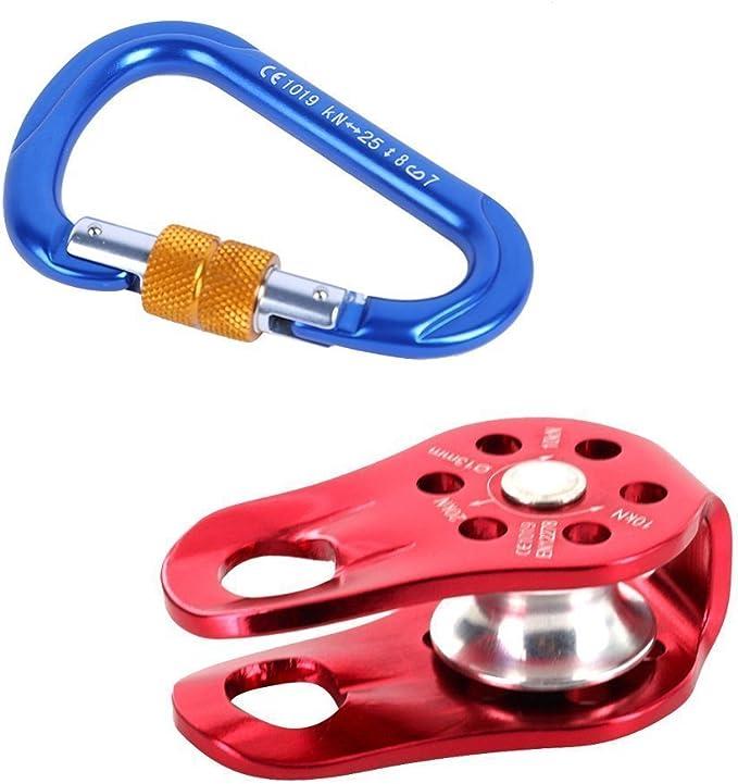 rosso D-ring moschettone a bloccaggio automatico certificato CE1019 per alpinismo trekking campeggio e pesca 1 x 25KN Moschettone per arrampicata e materiali di sicurezza