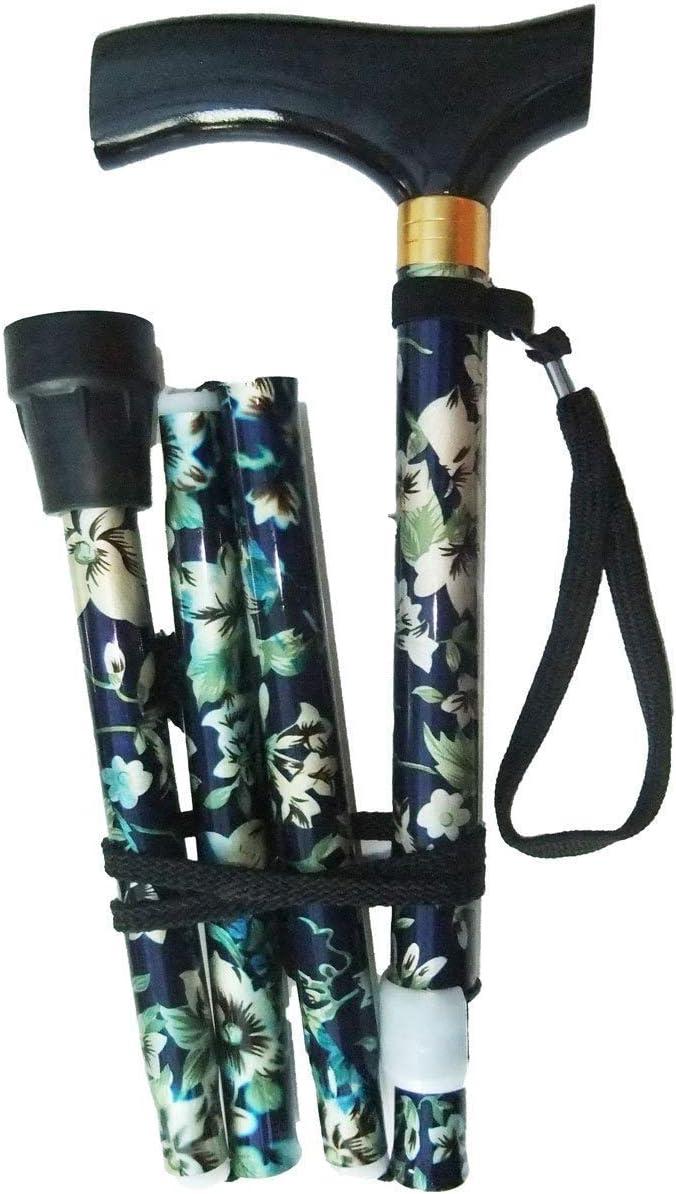 Bastón plegable con altura ajustable, correa de muñeca y virola adicional de regalo, diseño de flores, morado