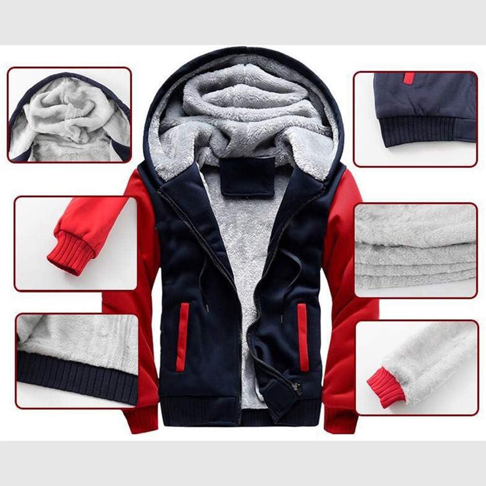 Mens Hoodies Mantel- Beiläufige Winter-mit Kapuze Warm Zip Langarm-Sweatshirt Fleecejacke Mit Reißverschluss Winter,C-4XL A
