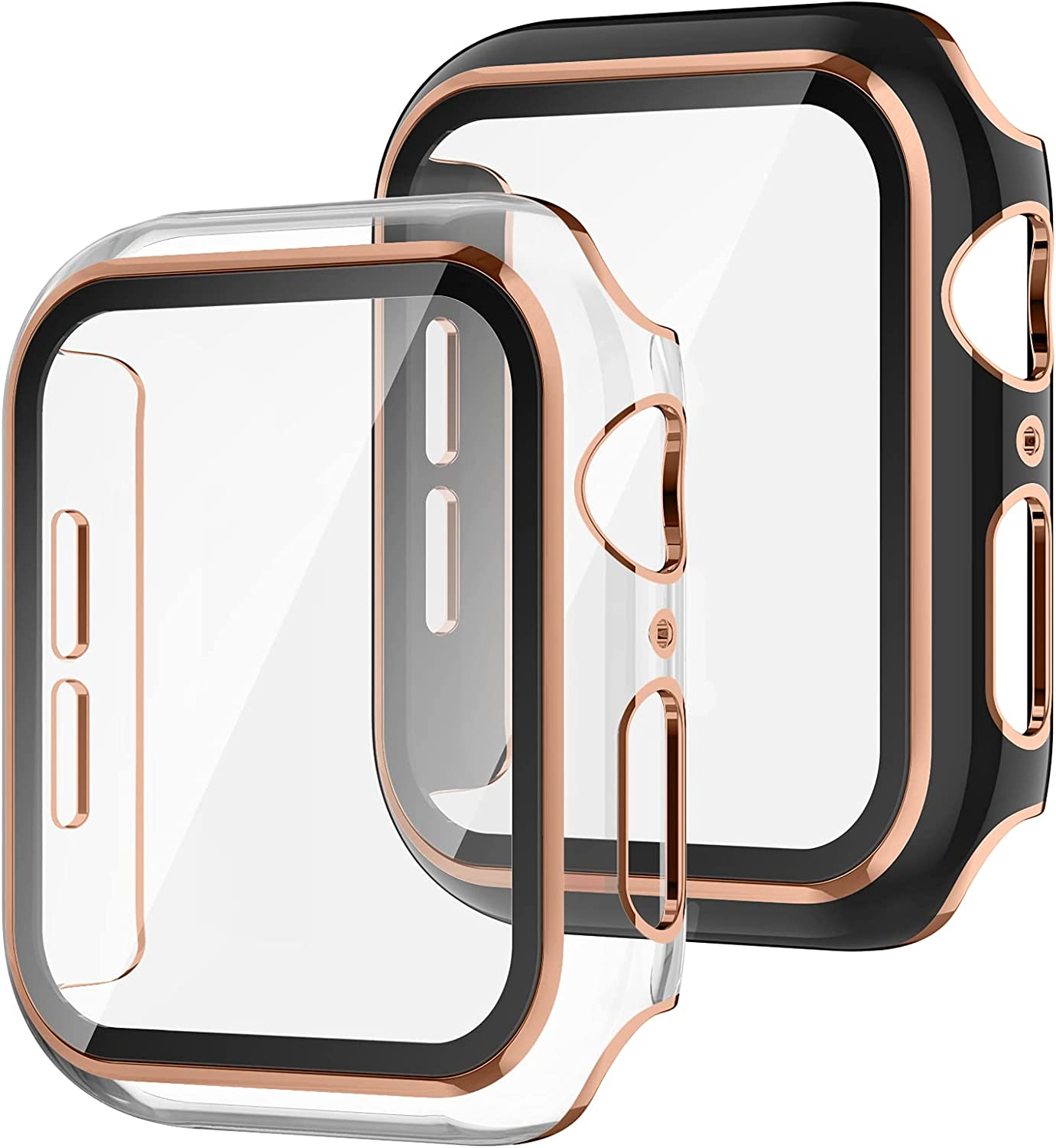 Recoppa 2 Pack Compatible Apple Watch Case 42mm with Tempered Glass Screen Protector, Rose Gold Edge Full Coverage Hard PC Cover Protective Case for Women Men iWatch Series 3/2/1(Clear/Black Bumper)