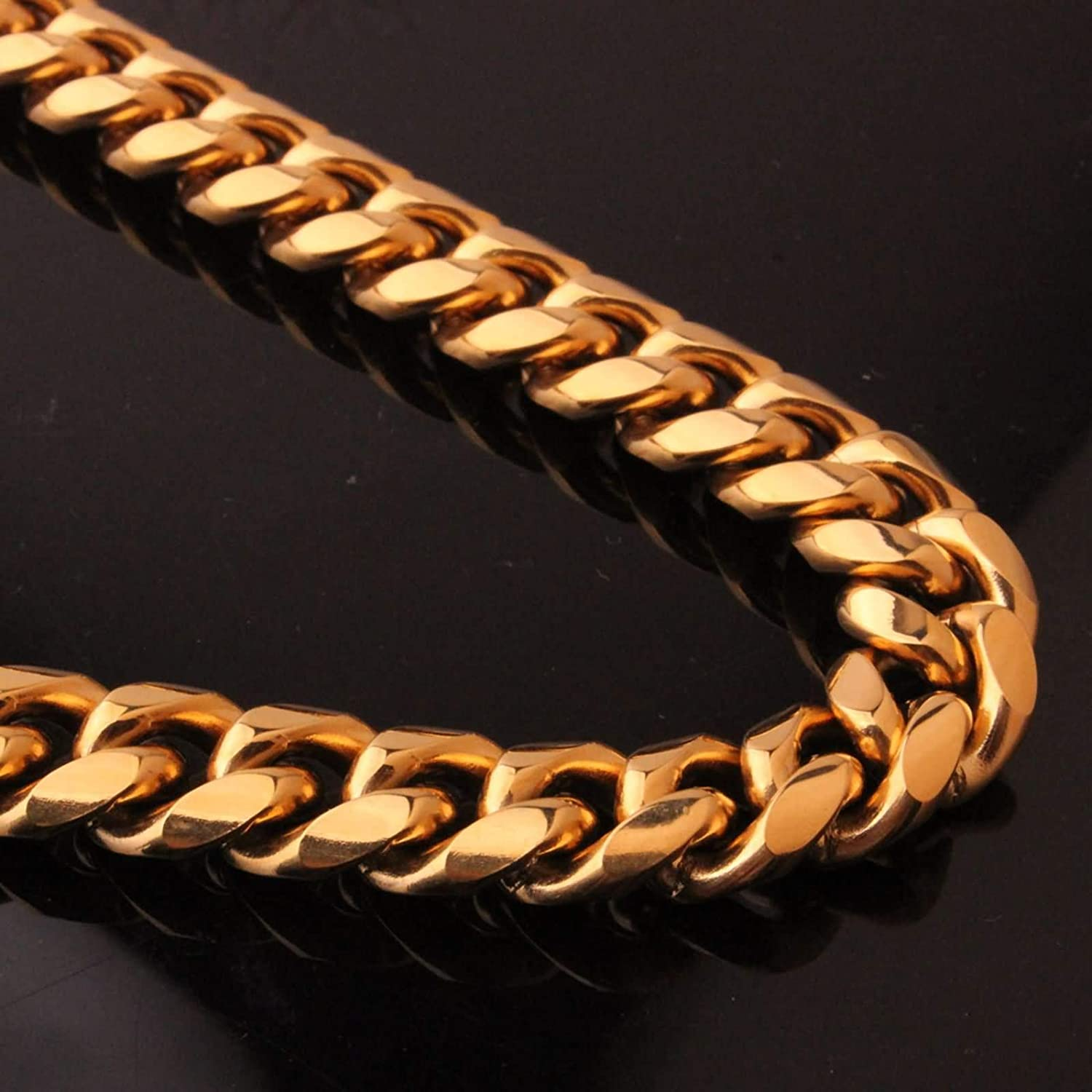 Gnzoe Men Cuban Link Chain Stainless Steel Curb Chain Necklace for Men